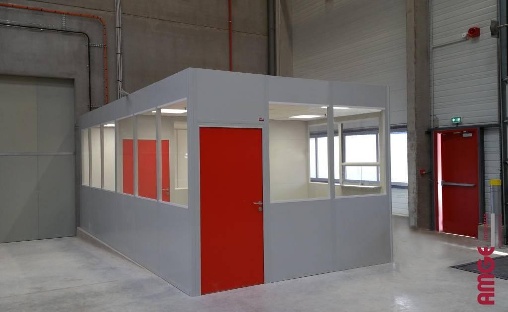 cabine d'atelier en cloison modulaire double paroi