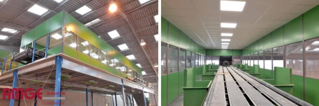 cabine de tri en cloison modulaire acier AMGE industrie sur plateforme