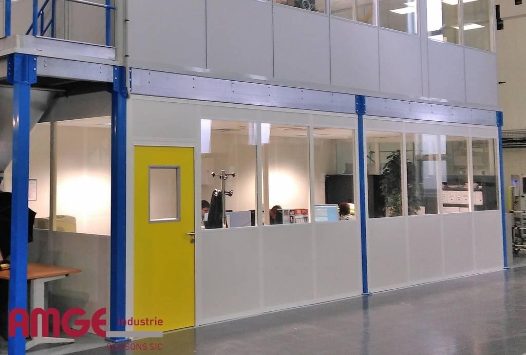 Bureaux en cloison modulaire double paroi acier-mélaminé de AMGE industrie