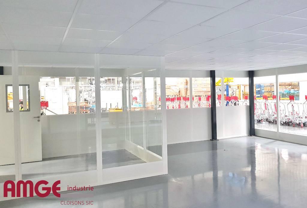Cloison amovible vitrée pour la création de bureaux