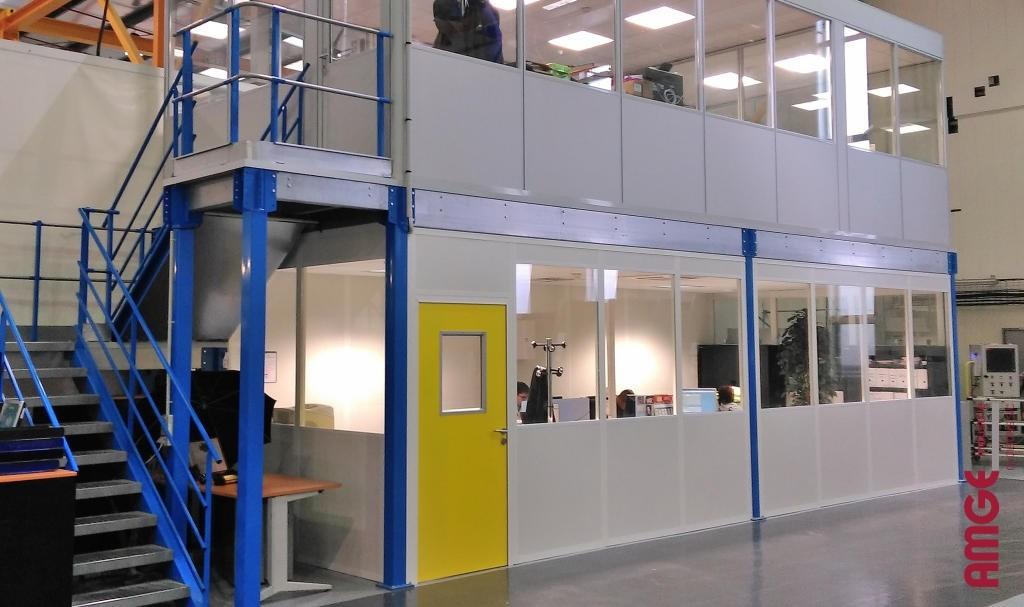 AMGEindustrie bureaux double paroi acier-melamine à etage