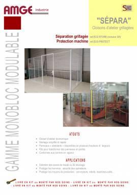 les gammes de cloisons grillagées de AMGE industrie : cloison de séparation grillagée et cloison de protection