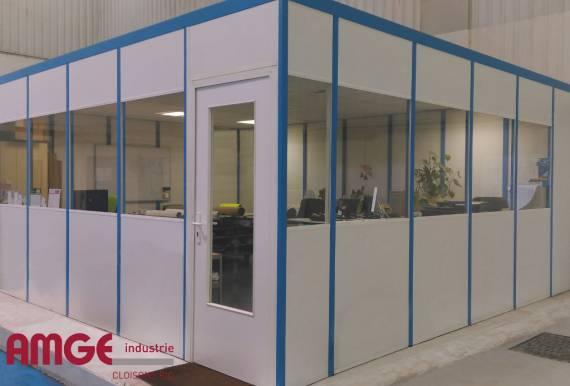bureau d'atelier économique en cloison modulaire simple paroi mélaminé AMGE industrie