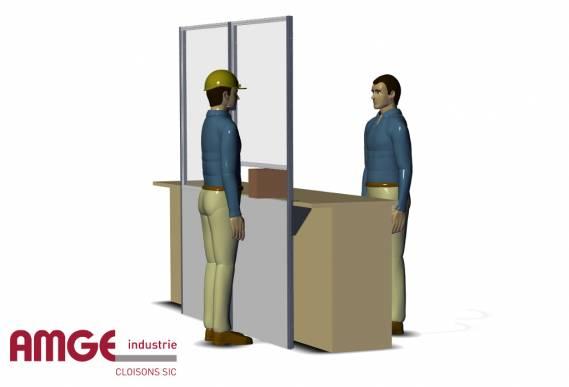 cloison industrielle vitrée pour la création d'écrans de protection entre les opérateurs